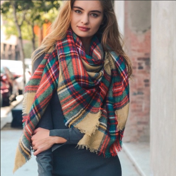 49930ace112a4 Accessories   Khaki Red And Green Plaid Blanket Scarf   Poshmark